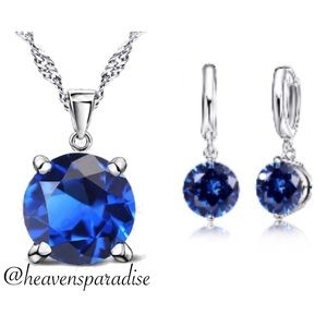 Sterling Silver Round Blue Austrian Crystal Set